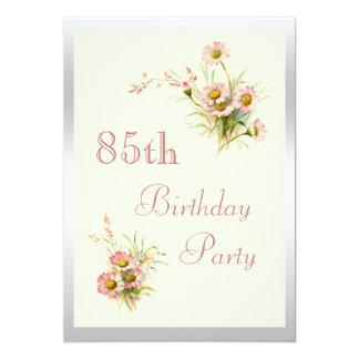 "Chic Spring Flowers 85th Birthday 5"" X 7"" Invitation Card"