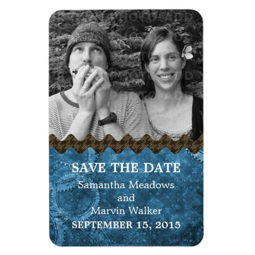 Chic Steampunk Photo Save the Date Magnet, Blue