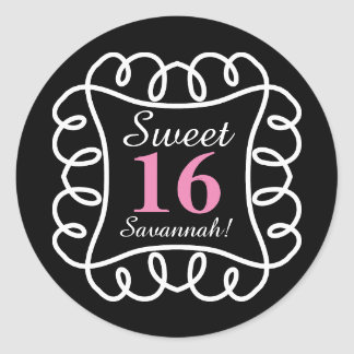 CHIC STICKER_FUN, SWEET 16_BLACK/WHITE,PINK   DIY CLASSIC ROUND STICKER