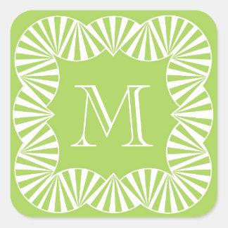 CHIC STICKER_GIRLY 60 GREEN/WHITE RUFFLES SQUARE STICKER