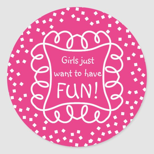 CHIC STICKER_GIRLY/FUN_ HOT PINK/WHITE  DIY CLASSIC ROUND STICKER
