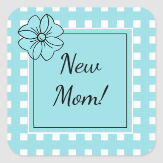 CHIC STICKER_NEW MOM_ GINGHAM_ISLAND PARADISE AQUA SQUARE STICKER
