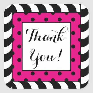 CHIC STICKER-THANK YOUB_BLACK/WHITE STRIPES PINK SQUARE STICKER