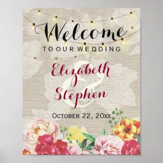 Chic String Light Linen Floral Wedding Sign Poster