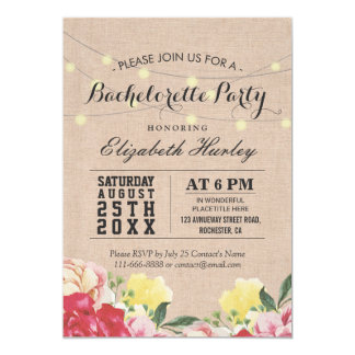 """Chic String Lights Linen Floral Bachelorette Party 5"""" X 7"""" Invitation Card"""