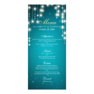 Chic String Lights Turquoise Glitter Wedding Menu Custom Rack Card