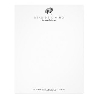 Chic Striped Beach Umbrella Logo Custom Letterhead