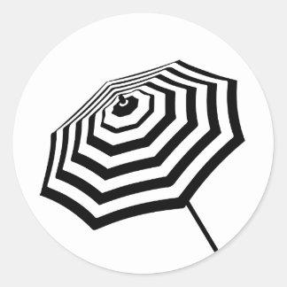 Chic Striped Beach Umbrella Logo Round Sticker