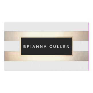 Chic Striped FAUX Gold Foil and Black Appointment Business Card