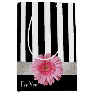 Chic Stripes and Gerber Daisy Gift Bag