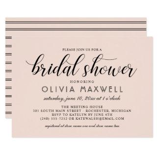 Chic Stripes Bridal Shower Invitation   Blush Pink
