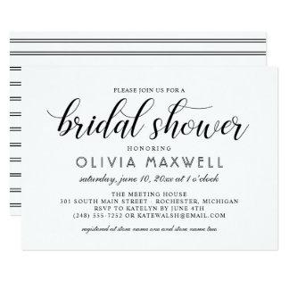 Chic Stripes Bridal Shower Invitation   White