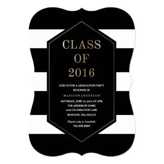 Chic Stripes Graduation Invitation