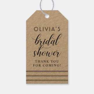 Chic Stripes   Kraft Bridal Shower Gift Tags