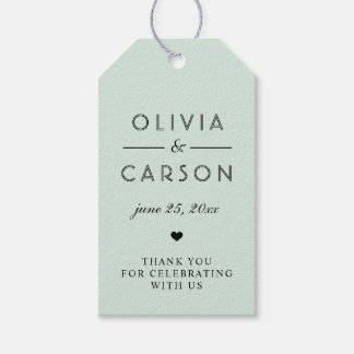 Chic Stripes Wedding Favor Tags | Mint Green