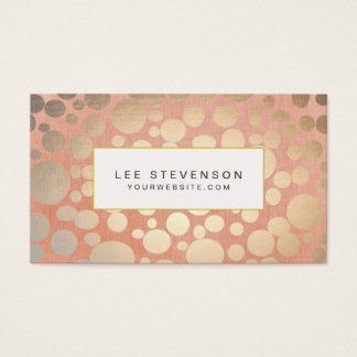 Chic Stylish Faux Gold Foil Circles & Peach Linen Business Card