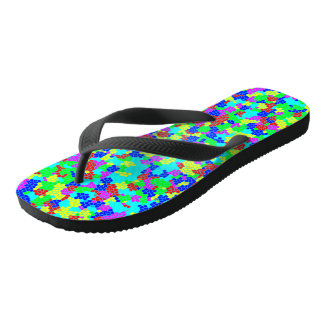 Chic Stylish Multicolor Rainbow Mosaic Pattern Flip Flops
