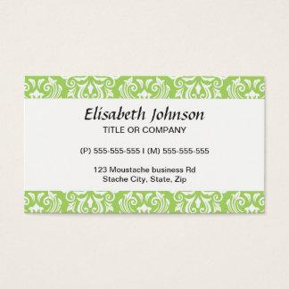Chic stylish ornate lime green damask pattern business card