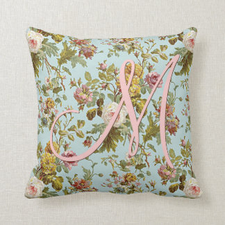 Chic Stylish Vintage Pink Rose Flower Pattern Throw Pillow