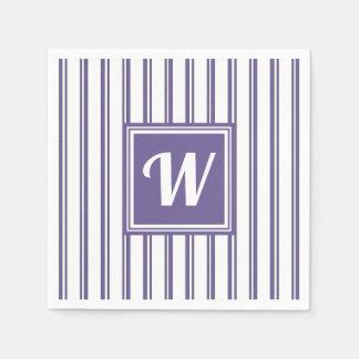 Chic Stylish Wedding Shower Monogram VIolet Stripe Paper Napkin