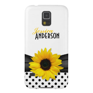Chic Sunflower Black White Polka Dot Cases For Galaxy S5