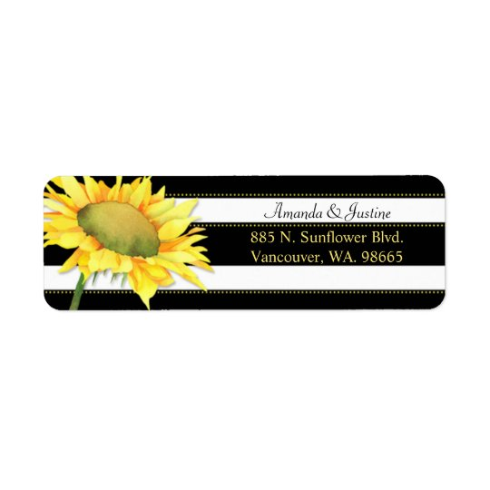 Chic Sunflower on Black n White Stripes Wedding Return Address Label