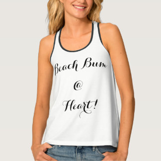 "CHIC-T_ ""BEACH BUM @ HEART! ""_BLACK TEXT TANK TOP"
