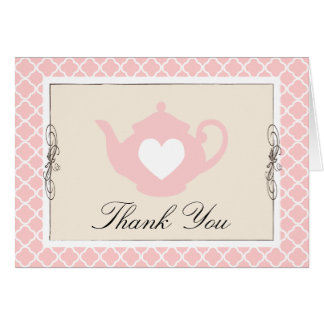 Chic Tan & Pink Teapot Trellis Thank You Card