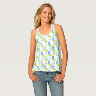 CHIC TANK TOP_MOD TROPICAL BLUE ISLAND PINEAPPLES