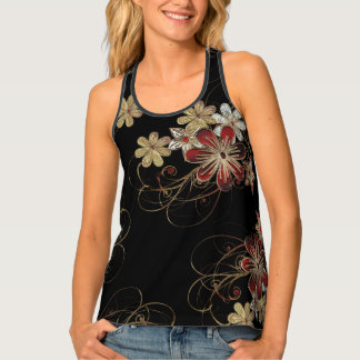Chic Tank Top with Gold Swirls and Poinsettia