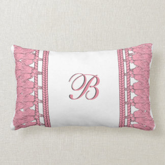 CHIC TASSEL PILLOW_GIRLY 26 PINK ON WHITE LUMBAR PILLOW