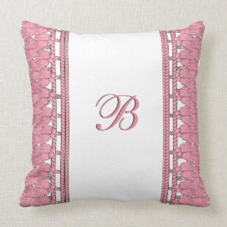 CHIC TASSEL PILLOW_GIRLY 26 PINK ON WHITE THROW PILLOW