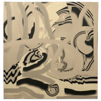 Chic Taupe and Black Art Cloth Dinner Napkins (4)