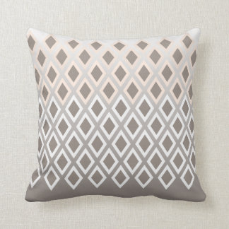 Chic Taupe & White Diamond Pattern Accent Throw Pillow