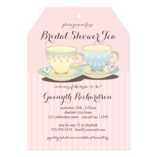"Chic Teacup Duet Bridal Shower Tea Party 5"" X 7"" Invitation Card"