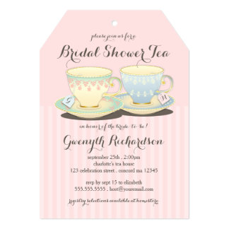 Chic Teacup Duet Bridal Shower Tea Party Card