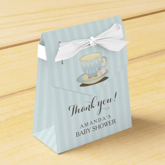 Chic Teacup in Blue Baby Shower Favour Box Favor Box