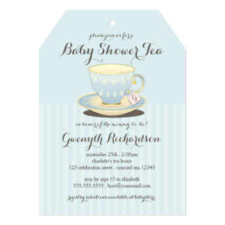 Chic Teacup in Blue Baby Shower Tea Party Card