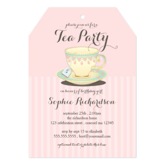 "Chic Teacup on Pink Birthday Tea Party 5"" X 7"" Invitation Card"