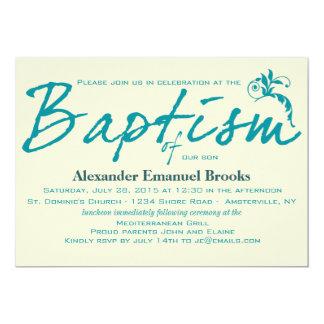 Chic Teal Baptism Invitation