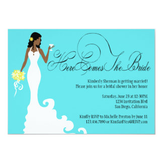 Chic Teal Black Yellow Here Comes the Bride Personalized Invitations