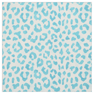 Chic teal blue and white cheetah print pattern fabric