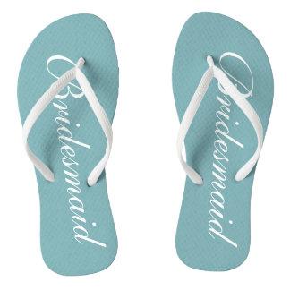 Chic teal blue bridesmaid beach wedding flip flops
