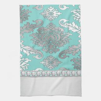 Chic Teal Blue Damask Kitchen Towels