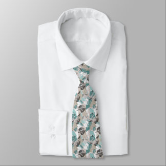 Chic Teal Blue Green Taupe Brown Leaves Pattern Tie