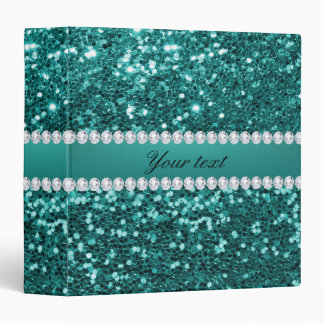 Chic Teal Faux Glitter and Diamonds 3 Ring Binders
