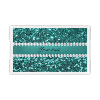 Chic Teal Faux Glitter and Diamonds Acrylic Tray