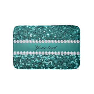 Chic Teal Faux Glitter and Diamonds Bath Mat