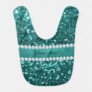 Chic Teal Faux Glitter and Diamonds Bib