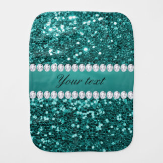 Chic Teal Faux Glitter and Diamonds Burp Cloth